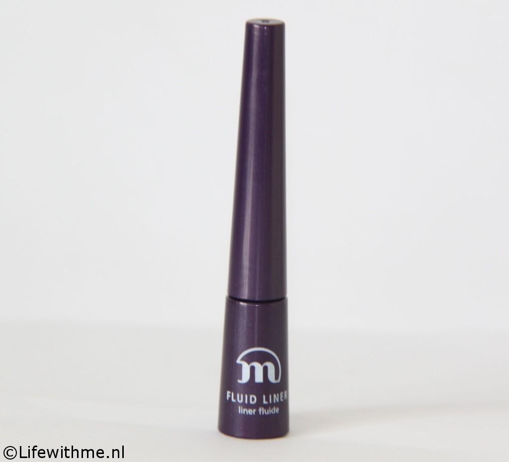 Paarse eyeliner fles