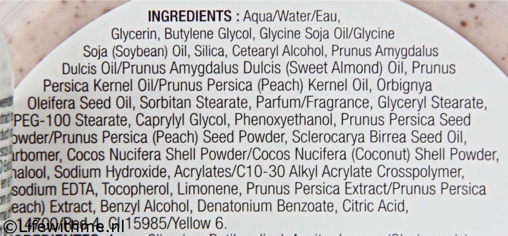 Body Shop vinegard peach ingredienten