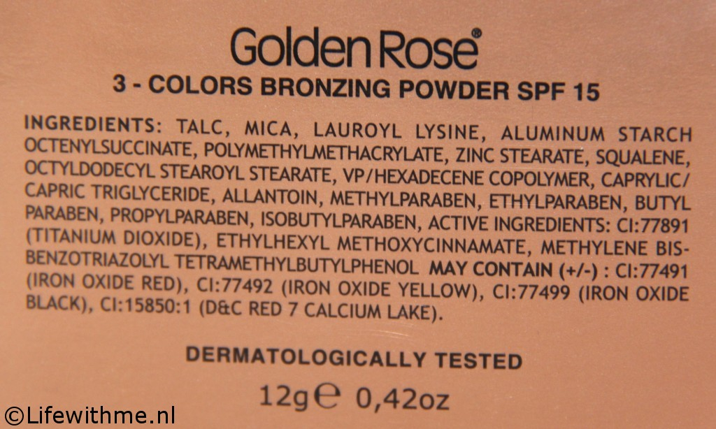 Golden Rose bronzer ingredienten